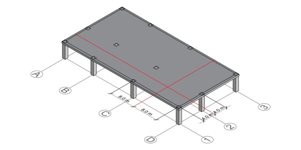 Drawing the centerlines defined by half the distance between column D-1's neighboring gridlines.