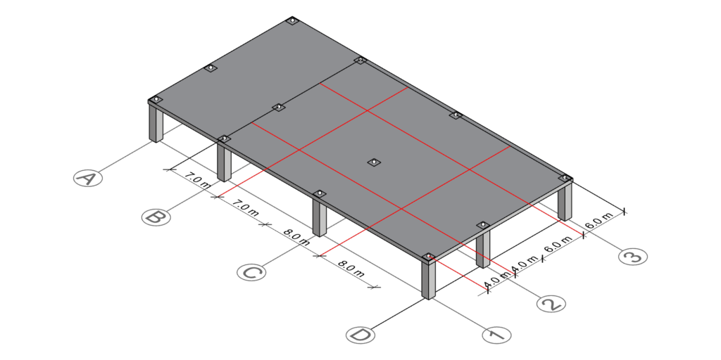Drawing the centerlines defined by half the distance between column C-2's neighboring gridlines.