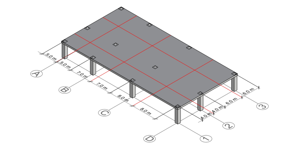 Drawing all centerlines in the structure to calculate all columns' tributary area.