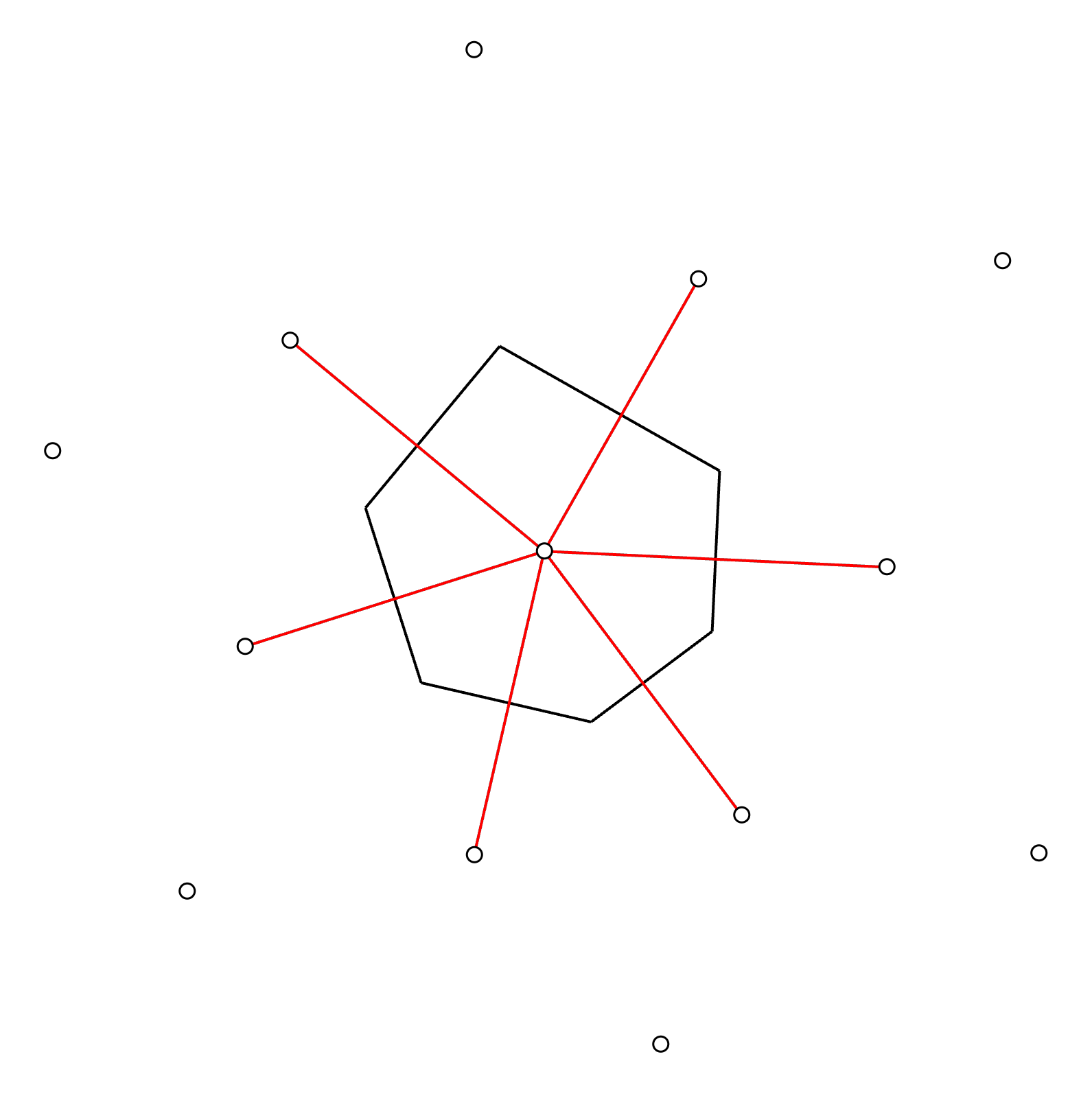 Step 6: Form a polygon from the perpendicular lines. The irregular tributary areas start to emerge.
