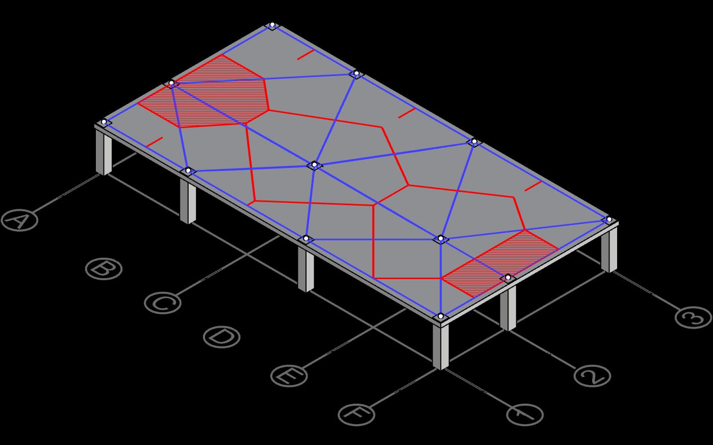 Derive centerline polygon for column A-2 and F-2
