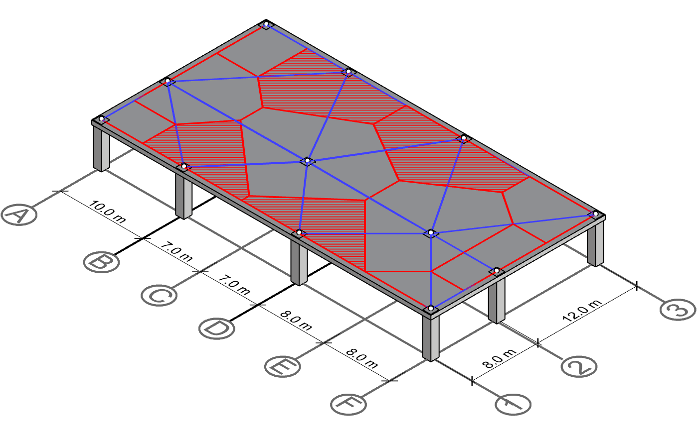 Derive centerline polygon for column B-1, B-3, D-1 and D-3