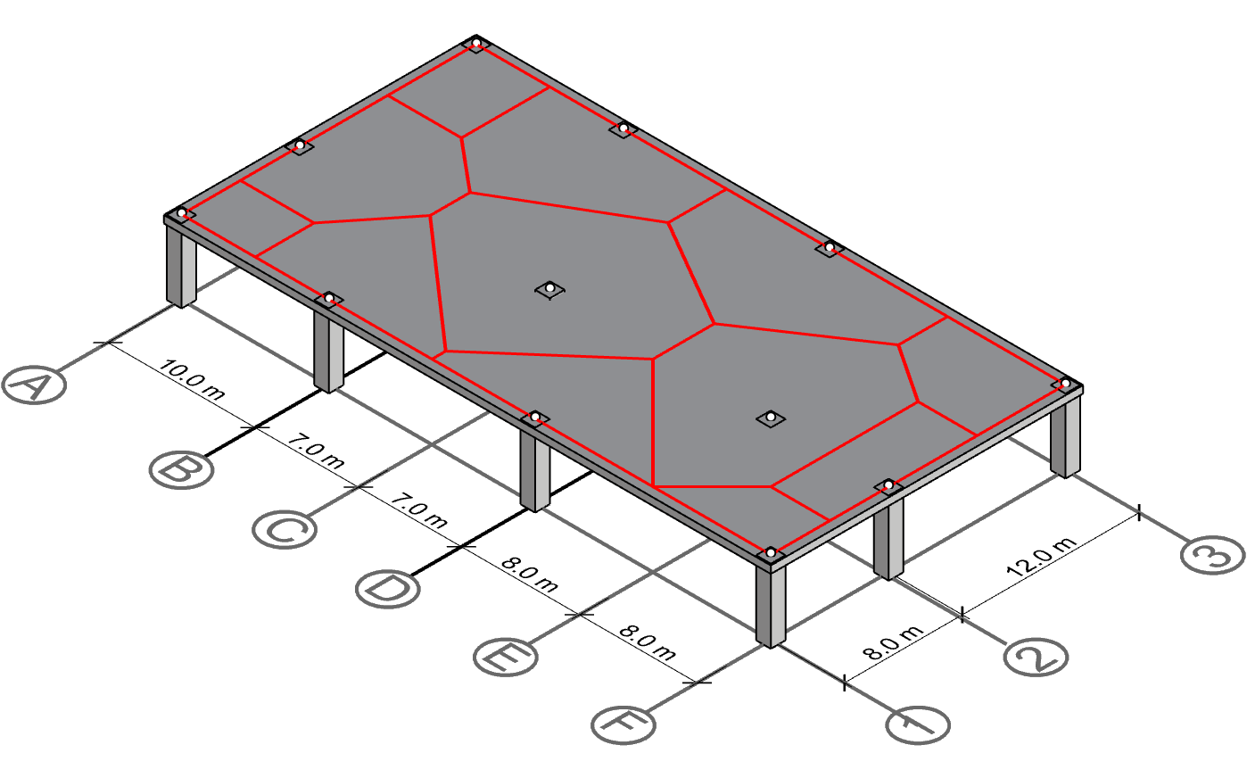 Last step: calculate the area of the polygons. The result will be the irregular tributary areas.